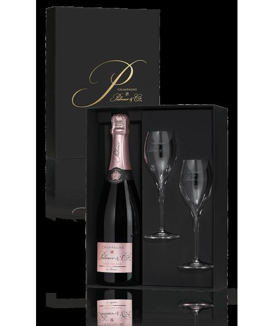 Coffret Champagne Rosé Solera (1 bouteille / 2 flûtes)